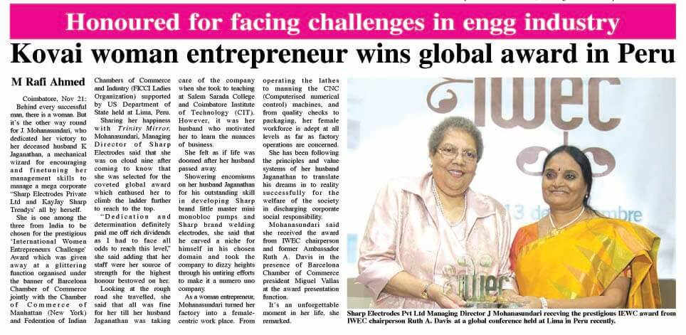 Kovai Women Entrepreneur wins award in Peru